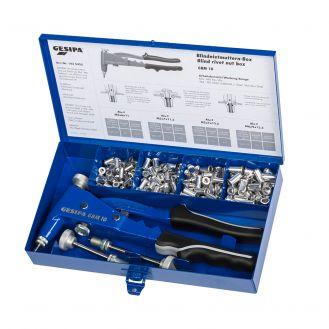Set cleste manual pentru piulite-nit cu guler Gesipa GBM 10 in cutie metal de transport si accesorii