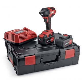 "Masina de insurubat cu impact Flex ID 1/4"" 18.0-EC/5.0 Set, 504920, 2 acumulatori 18 V / 5Ah, 225 Nm, incarcator si valiza de transport"