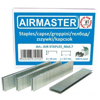 Capse AIR-STAPLES_40x5.7 Airmaster, 40x5.7 mm, 5000buc