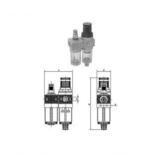 Grup reductor presiune - lubrificator Comaria 3104, cu manometru