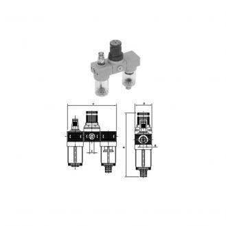 Grup filtru 20 μm- reductor presiune - lubrificator Comaria 3106, cu manometru