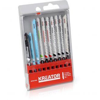 Set mixt 10 lame pentru fierastrau pendular Kreator KRT041090, coada tip T