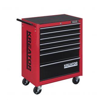 Dulap mobil de scule Kreator KRT653004, culoare rosu/negru, 7 sertare, 348 piese