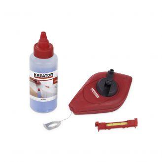 Set dispozitiv pentru trasat cu sfoara si praf de creta Kreator KRT708001