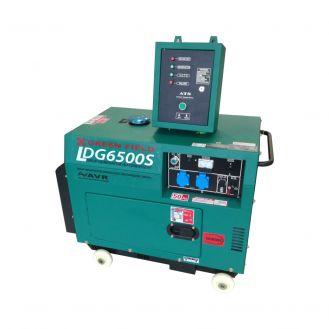 Generator de curent diesel Greenfield LDG6500S, cu carcasa insonorizanta, stationar, monofazat, 5.5 kVA, automatizare