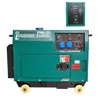 Generator de curent diesel Greenfield LDG6500S_EUROV, cu carcasa insonorizanta, stationar, monofazat, 5.5 kVA, automatizare
