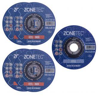 Set 5 discuri pentru debitat Zonetec ZA231SET125-D5-1, pentru inox / metal, 125X1.0/1.6/2.5X22.3 mm