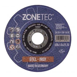 Disc abraziv Zonetec ZA231I1251.622 pentru debitat otel / otel inox, D 125X1.6X22.23 mm