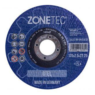 Disc abraziv Zonetec ZA231M1252.522 pentru debitat otel, centru depresat, D 125X2.5X22.23 mm