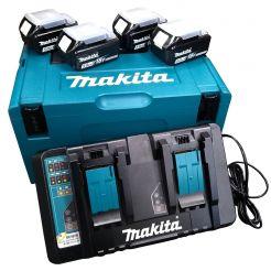 Kit 4 acumulatori si incarcator Li-Ion Makita LXT, 18 V, 5.0 Ah, valiza de transport MAKPAC
